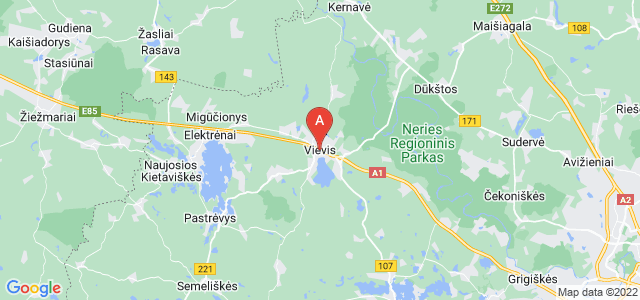 map of Vievis, Lithuania
